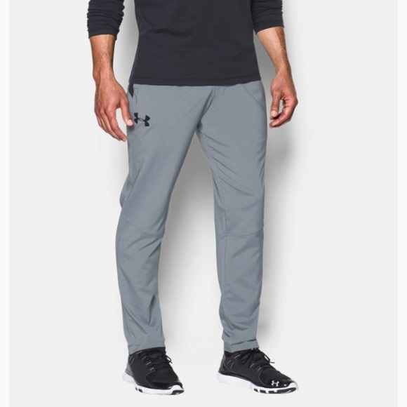 New Large Under Armour UA Men/'s HIIT Woven Pants Trousers Blue//Black